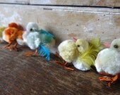 Vintage Easter Chicken Silk Chenille Stems Set of 5