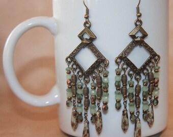 Celadon Green and Bronze Chandelier Earrings