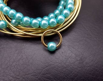 "16g 14g 3/8"" (10mm) Gold Blue Turquoise Glass Pearl Captive Bead Ring Hoop Helix Ring Tragus Cartilage Navel Ring Septum 316lvm Steel"