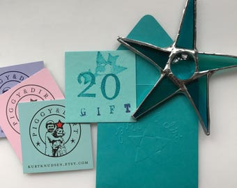 20 dollar gift certificate for glass stars, etc.