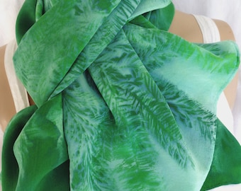 silk scarf large long luxury crepe Evergreen Pine hand painted unique emerald green forest wearable art morgansilk scarves