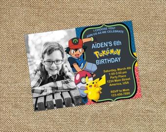Pokemon Birthday Photo Invitation