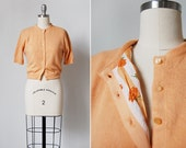 vintage 1950s sweater / 50s wool sweater / peach wool sweater / Sherbert sweater