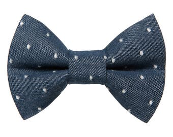 "Cat Bow Tie - ""The Frisky Business"" - Blue Chambray with White Polka Dots"