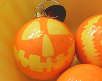 Christmas Ornament Ceramic Ball Jack o Lantern Face in Orange and Yellow