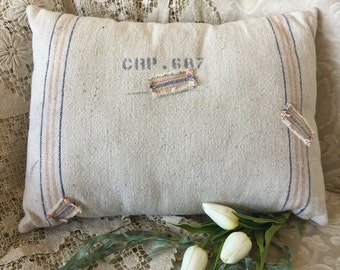 Grain Sack and Ticking Pillow with Patches by Gathered Comforts