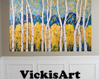 Birch Aspen Trees Mountain Original acrylic painting 36 w x 24 h x .75 wrapped canvas Ready to  Ship Free in US