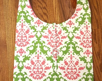 Pink Green Damask Handbag Tote Damask Pattern Large Hobo Bag