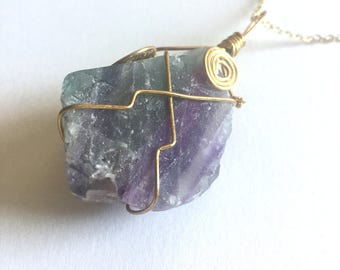 Purple and Green Raw Rainbow Fluorite Crystal Necklace, Gold Wire Wrapped, Festival Jewelry, Boho, Healing Properties, Gemstone Pendant,