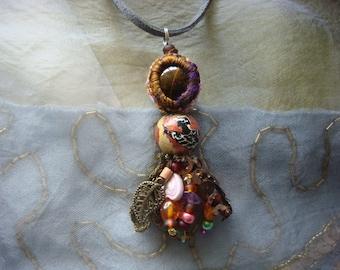 mystery - a mixed media boho gypsy pendant