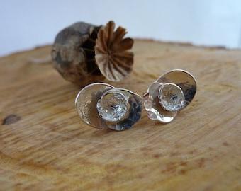 Poppy flower stud earrings: Handmade sterling silver