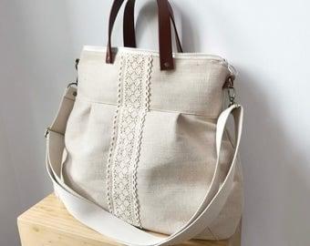 2 way Cross Body Bag /Fall Messenger Bag / Diaper bag / Handbag / Tote / Leather straps / Women messenger / Travel bag /Light waxed canvas
