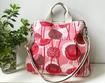 2 way Cross Body Bag /Fall Messenger Bag / Diaper bag / Handbag / Tote / Leather straps / Women messenger / Travel bag