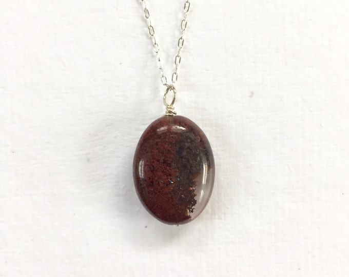 Quartz Oval with Red Incusions Pendant Necklace