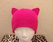 Hot Pink Pussycat Hat-Kitty Cat Beanie-All Sizes-Made to Order