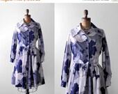 25% OFF 70 shirtwaist dress. 1970's cotton dress. floral print. blue & white. m. 70's medium dress. collar.