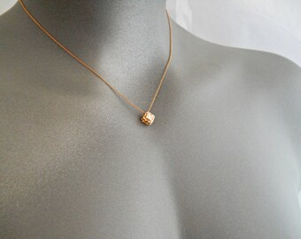 Rose Necklace, Rose Gold Necklace, Solitaire Diamond Necklace, Diamond Rose Gold, Teen Necklace, Minimalist Necklace, Square Necklace