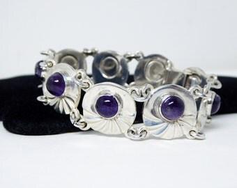 Sterling Silver & Amethyst Bracelet - Signed Hencho en Mexico - Vintage Art Deco Era 1940's - Signed DF and Arcoz .925 - Purple Gemstones