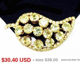Yellow Rhinestone Leaf Brooch - Citrine Yellow Tone Rhinestones - Broad Leaves Pin- Vintage 1950's 1960's High Fashion Mid Century Jewelry