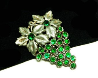 Cluster of Grapes Brooch with Two Flowers - Pot Metal Pin with Green Rhinestones - Signed PJG - Vintage Jewelry