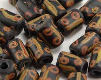 Antique Black African Trade Bead with Red and Yellow