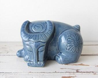 Vintage Mid Century Modern Blue Ceramic Bull/Taurus Bull