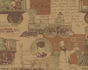"Vintage Gift Wrap Steampunk Wrapping Paper Hallmark Trains Antique Train Railway Locomotive Railroad 20X 20"" FREE Shipping USA"
