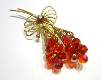 "Vintage Orange Flower Brooch Crystal Rhinestone Flower Gold Large 3"" Gift for Her Vintage Jewelry Under 50"
