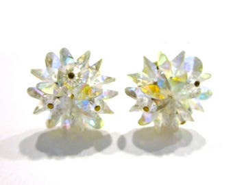 Vintage Crystal Clip Earrings Wedding Jewelry Aurora Borealis Rainbow Clip Earrings Bridal Gift for Her for Mom Under 20 Jewelry Gift Idea
