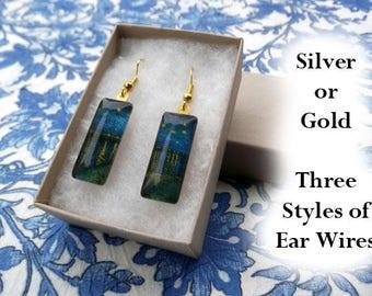Van Gogh Starry Night Over the Rhone earrings, Van Gogh earrings, impressionist earrings, landscape art, blue yellow stars