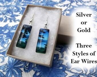 Hasui earrings, Moonlit Night, blue earrings, Asian art earrings, small glass earrings, woodblock art earrings, Japanese landscape, 1947