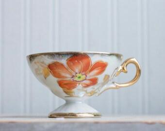 Vintage Nasco Tea Cup, Iridescent White Cup, Del Coronado, Orange Flower, Hand Painted Gold, Fancy Tea Party, 1940s 40s Fine China Porcelain