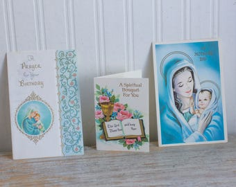 Vintage  Greeting Cards - Religious Birthday, Spiritual Encouragement, Religious Mothers Day, Mid Century Blessed Mother