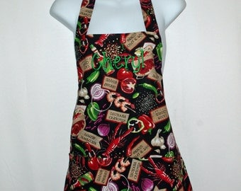 Cajun Apron, Creole, Jamabalya, Shrimp, Onions and Peppers, Personalize With Name, No Shipping Fee, Ships TODAY, AGFT 478