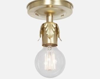Raw Brass Flush Mount Ceiling Light - Ceiling Light Fixture - Foyer Light - Kitchen Lighting - Bathroom Vanity Lighting - Rustic Light