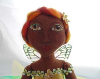 Beautiful One of  Kind Fairy Doll Hand Crafted  Unique Shelf Sitter