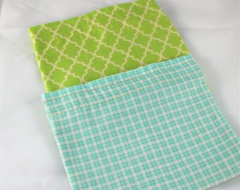Snack Pouches - Reusable Snack Bags - Set of Two - Aqua and Lime Green - Ready To Ship