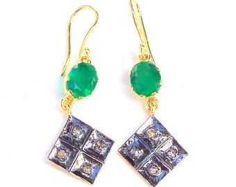 Emerald and Diamond, Gold/Sterling Silver, Vintage Earrings, Dangling Diamond, Turkish Earrings