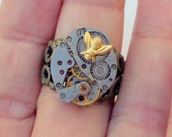 Steampunk Ring, Adjustable, Honey Bee, Neo Victorian, Steam Punk Goth, Edwardian Fantasy, Cosplay Ring, Dark Metal Noir