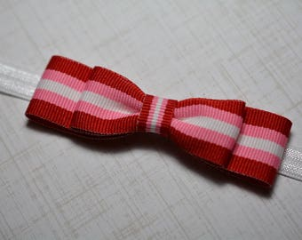 Red, Pink & White Striped Bow Headband/ Red, Pink and White Baby Headband/Baby Hair Accessories/Baby Girls Hair Accessories/ Valentine's