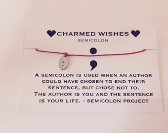 Semicolon bracelet, Semi colon jewellery, Inspirational gift, Semicolon wish bracelet, Life is Beautiful gift, Hope gift, cord bracelet