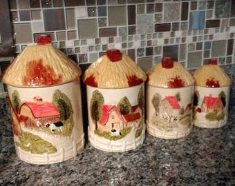 Marks and Rosenfeld Porcelain Canister Set Barns /Made in Japan Canister Set / 1950's Mid-Century Country Farmhouse Decor