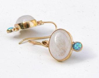 Solid Gold Earrings, Opal earrings gold ,Moonstone earrings,Gift for her, Dangel ,Anniversary gift, Engagement earrings, Gift idea for women
