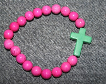Bracelet stretch Pink beats Green cross