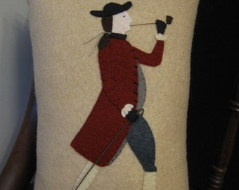 Colonial Man Wool Applique Penny Rug Pillow
