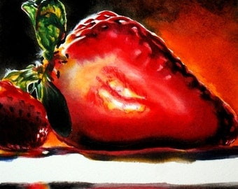 Strawberry watercolor painting original fine art illuminated strawberries fruit colorful kitchen art