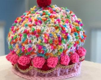 Cupcake Hat, pink hat, cupcake,  baby girl, hat, newborn hat, newborn photography prop, READY TO SHIP, 0-3 months, pink, cherry, sprinkles