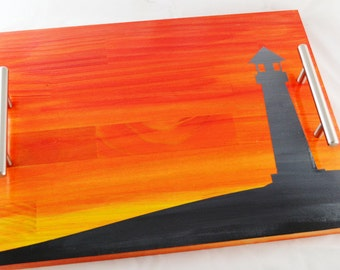 Lighthouse Sunset Stained Wood Serving Tray, Coffee Tray, Tea Tray, Espresso Tray