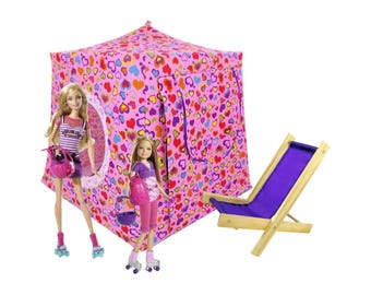 Toy Pop Up Tent, Sleeping Bags, pink, heart print fabric for dolls, stuffed animals