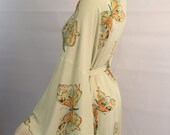 Fabulous late 1930s or early 1940s art deco butterfly novelty print rayon kimono style draped jersey robe